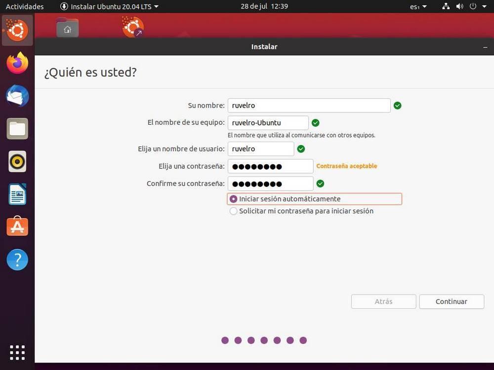 Instalar Ubuntu - Crear usuario