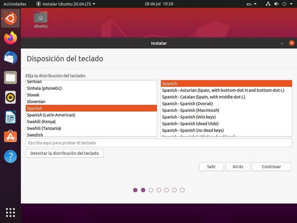 Instalar Ubuntu - Distribución de teclado