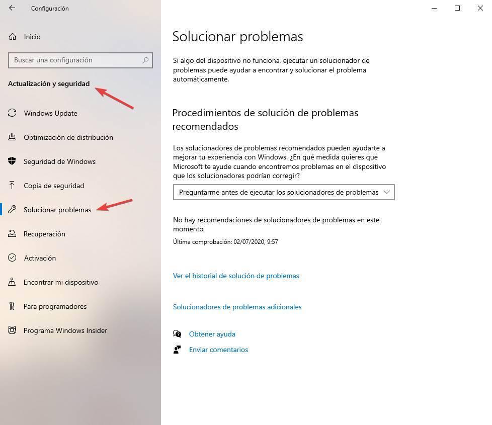Ir a solucionar problemas en Windows 10