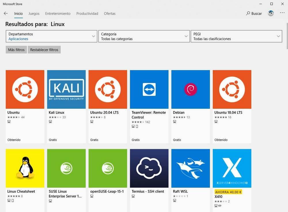 Linux en la MS Store