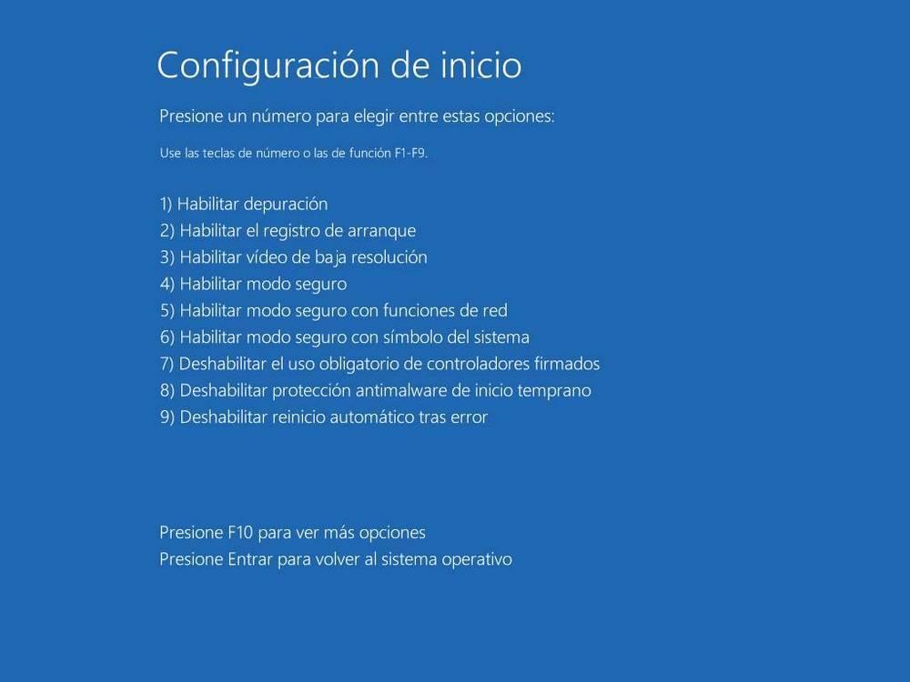 Opciones de inicio avanzadas de Windows