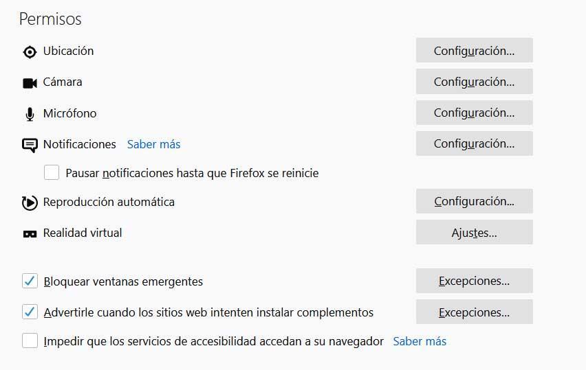 Permisos de Firefox