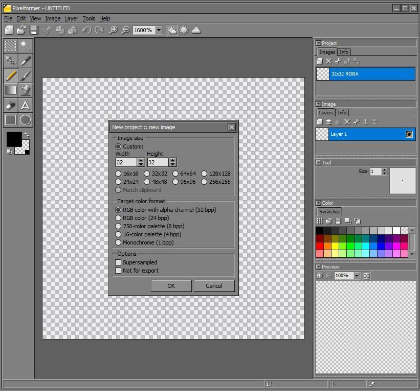 Pixelformer interfaz inicio proyecto