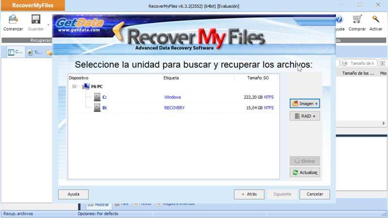 Récupérer mes fichiers seleccionar unidad donde buscar archivos éliminados