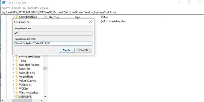 Registro Windows información del valor