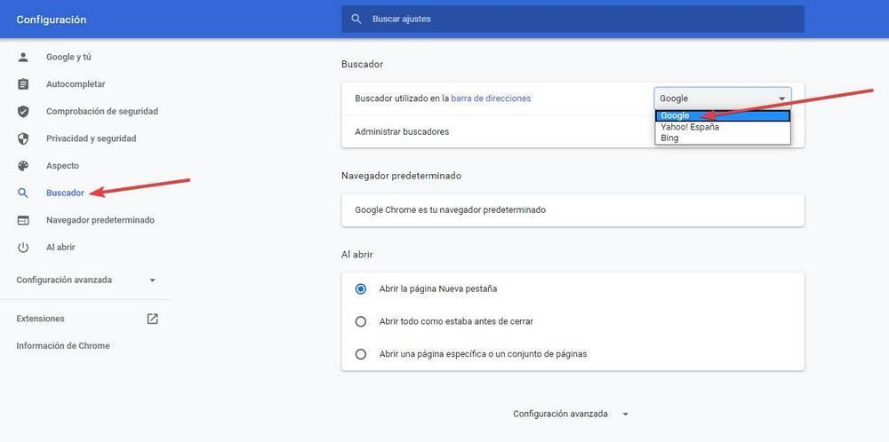 Usar Google como buscador por defecto en Chrome
