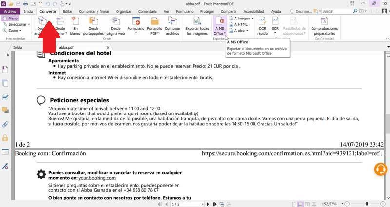 Foxit PhantomPDF convertește PDF