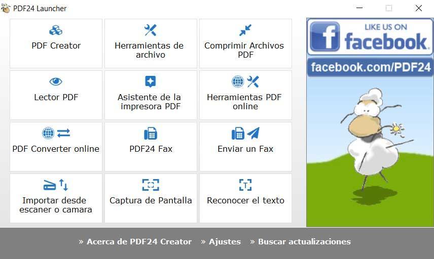 Interfaz PDF24 Creator