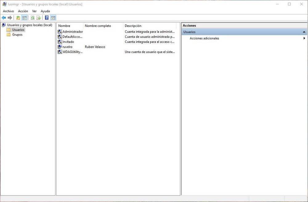 Lista de usuarios en lusrmgr en W10