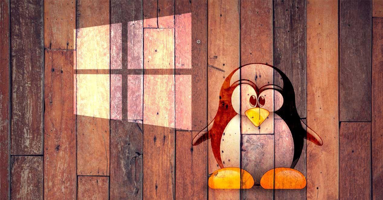 Windows y Linux de madera