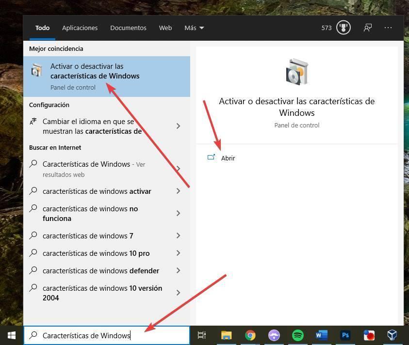 Agregar o quitar características de Windows