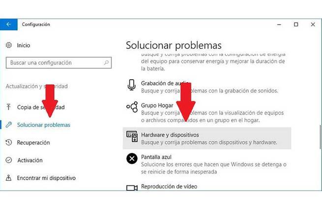 Configuración solucionar problemas