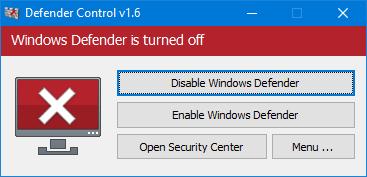 Defender Control - Windows Defender apagado