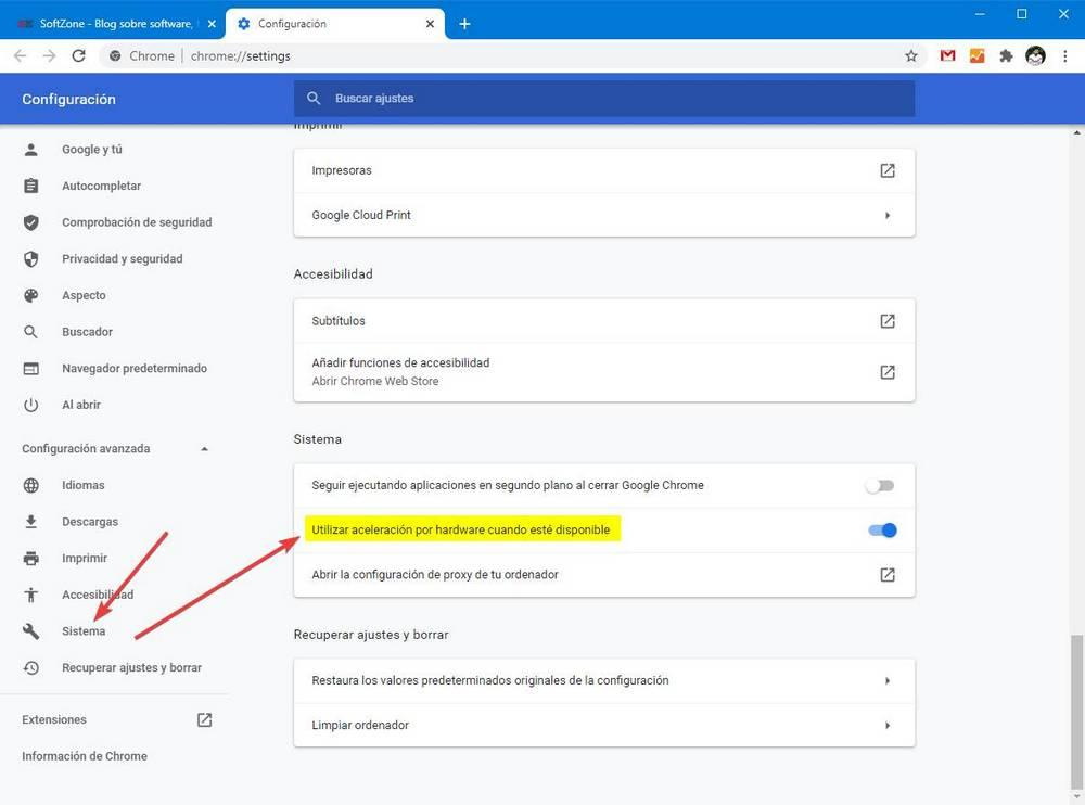 Desactivar aceleración por hardware en Google Chrome