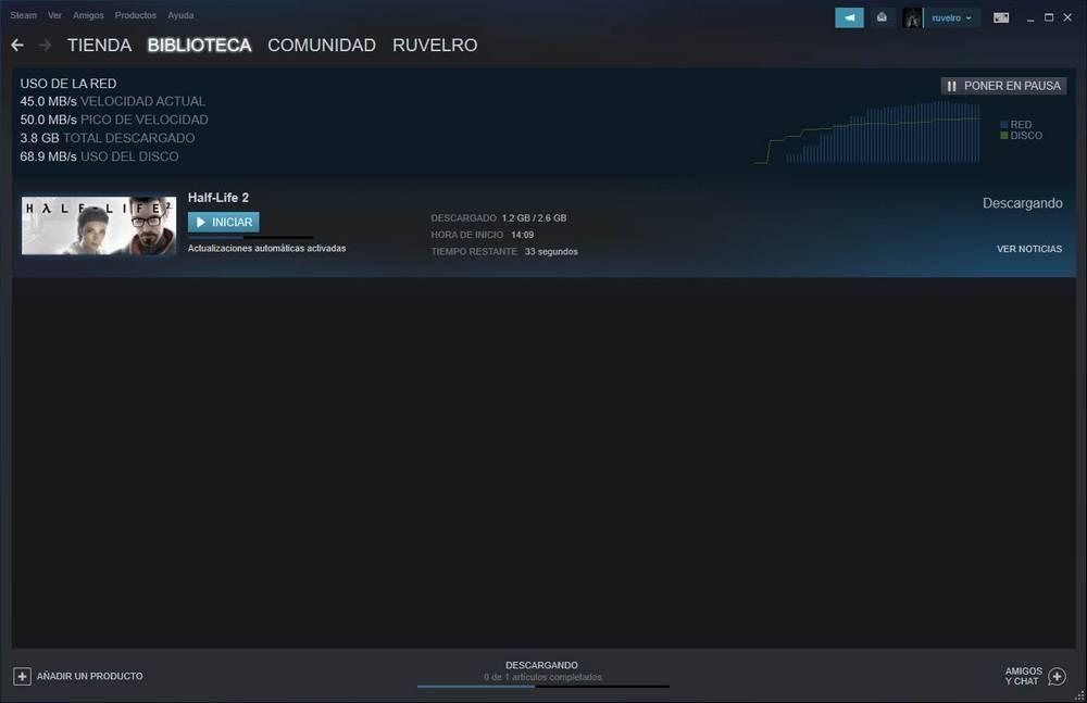 Descargando juego en Steam
