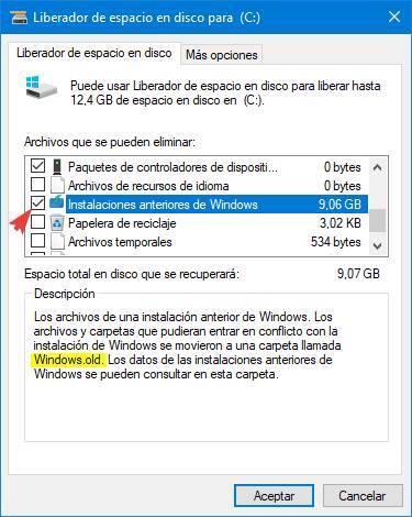 Liberar espacio Windows old