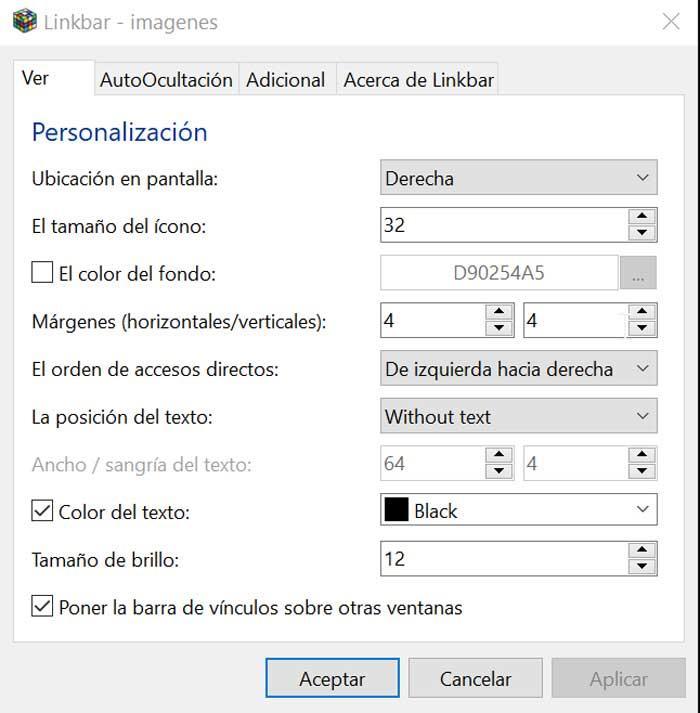 Linkbar Configuración Ver