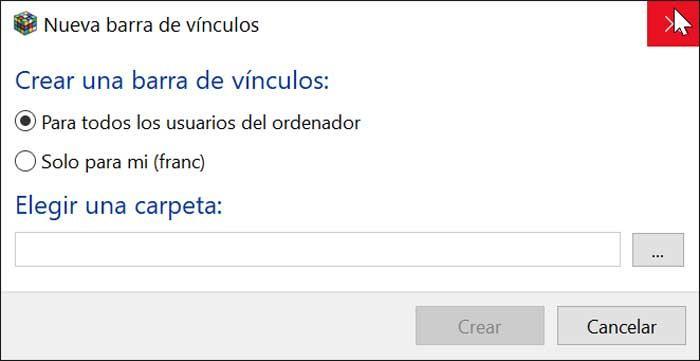Linkbar crear barra de herramientas