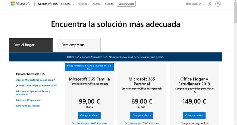 Office 365 precios