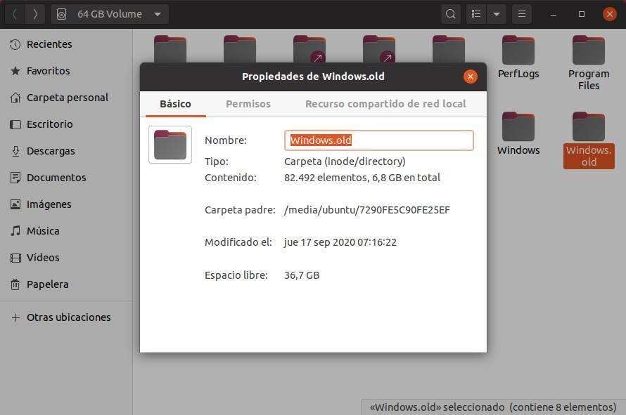 Propiedades carpeta Windows old Ubuntu