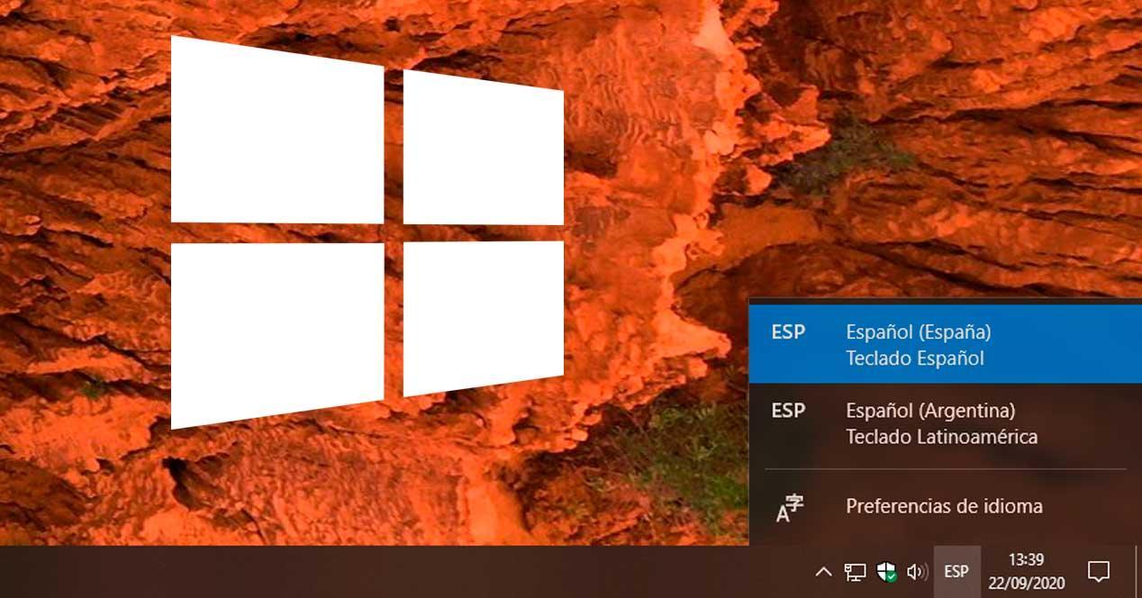 Windows selección idioma teclado