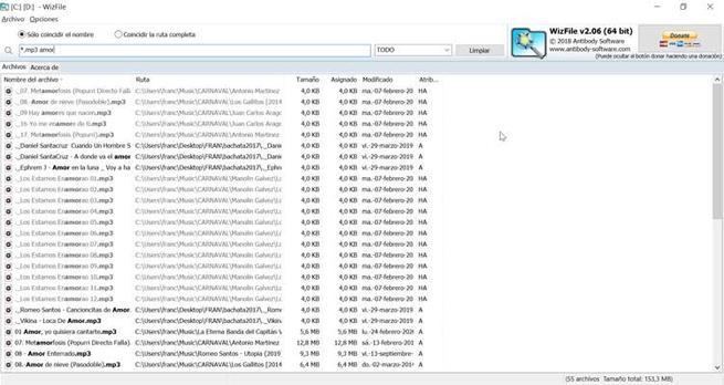 WizFile resultado búsqueda doble