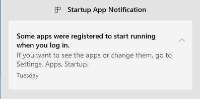 Aviso apps inicio W10 insider