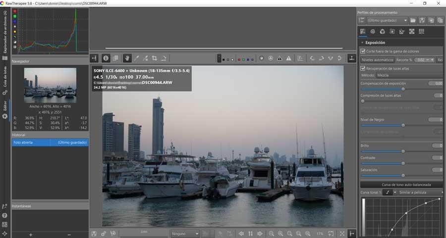 Editar fotos RAWTherapee