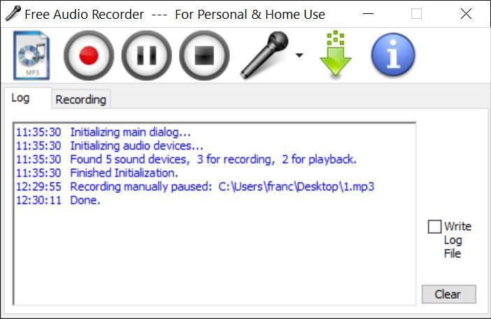Free Audio Recorder menú principal