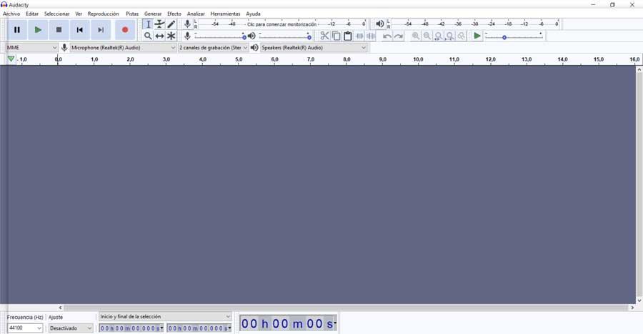 Audacity main interface