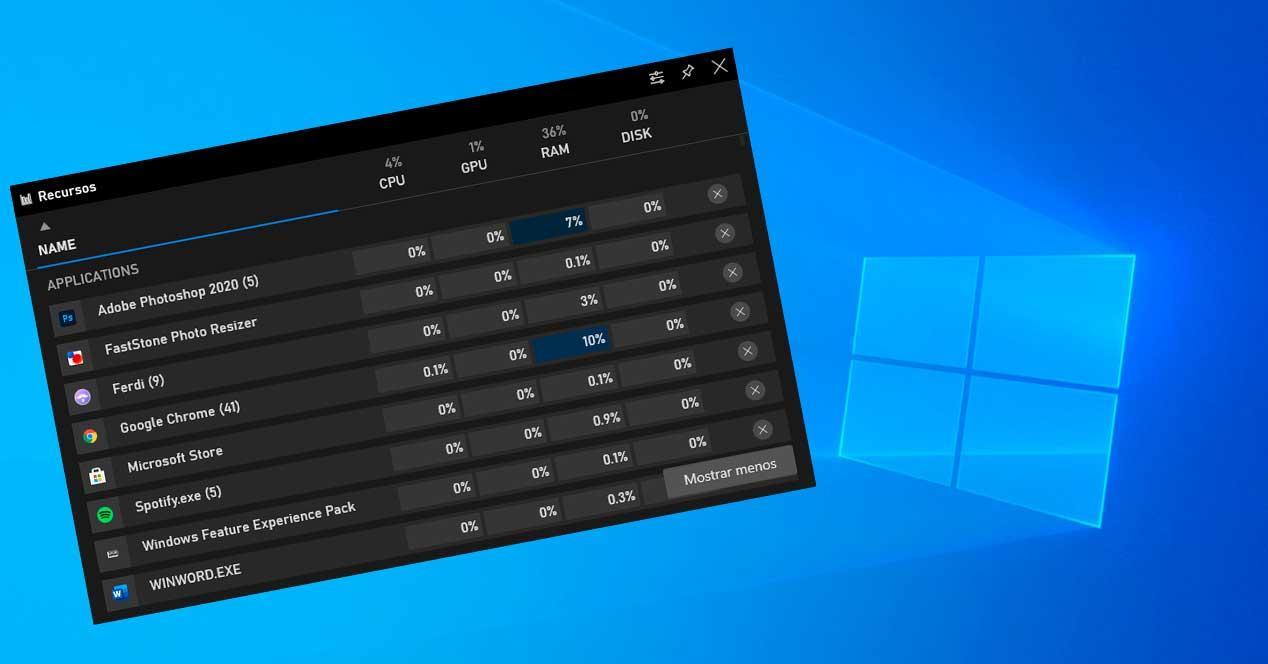 Nuevo visor recursos Game Bar W10