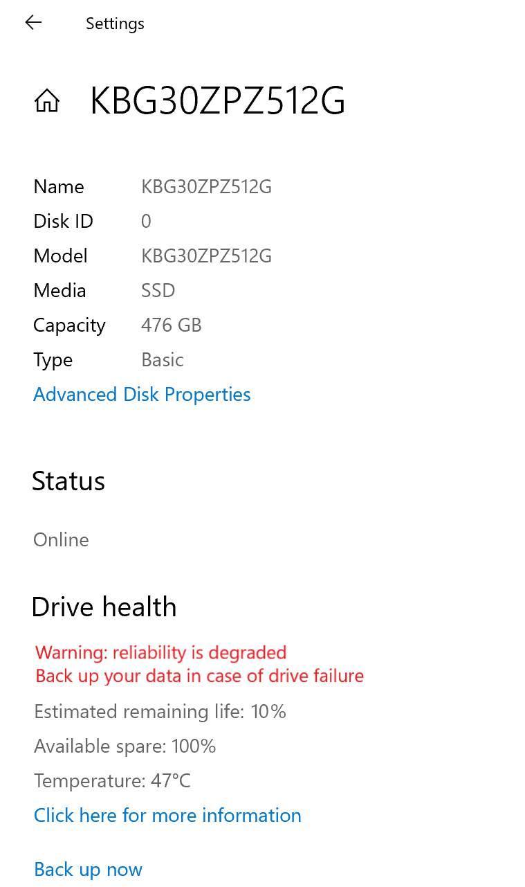 Windows 10 build 20226 - Configuración salud disco duro ssd