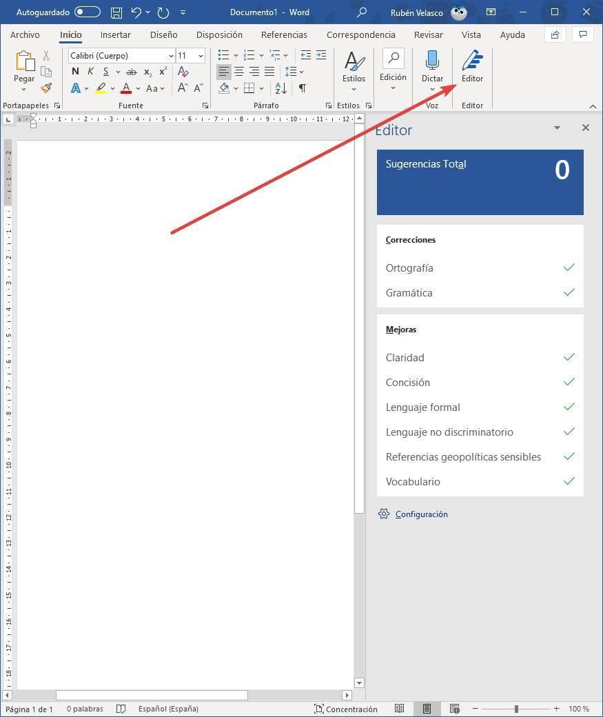 Abrir Microsoft Editor en Word