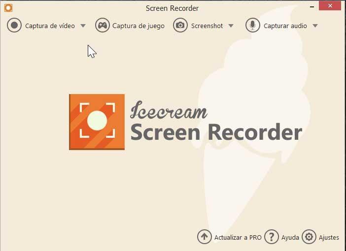 Icecream Screen Recorder, meniu principal