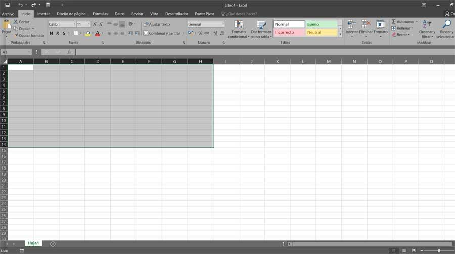 Interfaz de Excel
