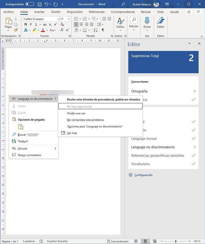 Palabra no adecuada en Word - MS Editor 2