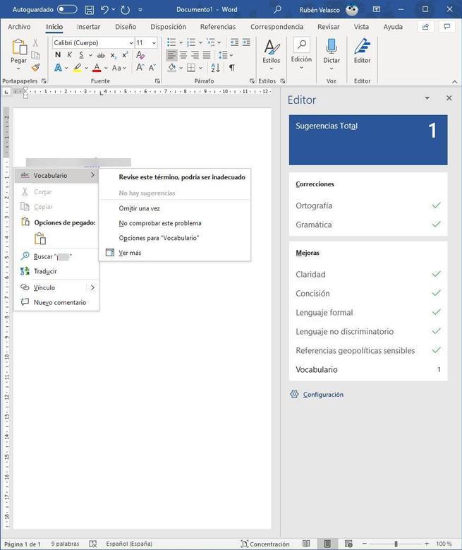 Palabra no adecuada en Word - MS Editor