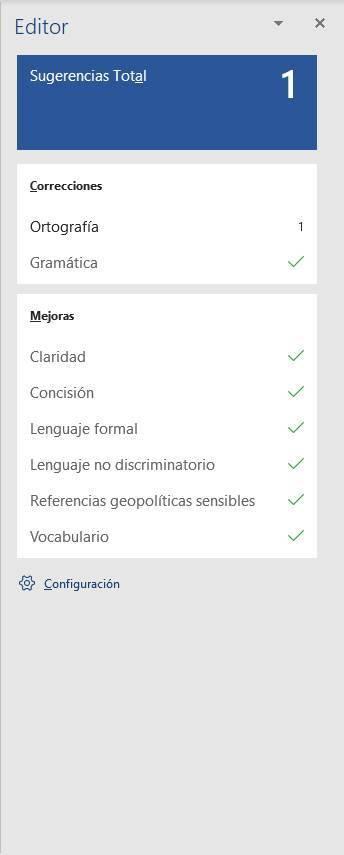 Revisiones Microsoft Editor en Word