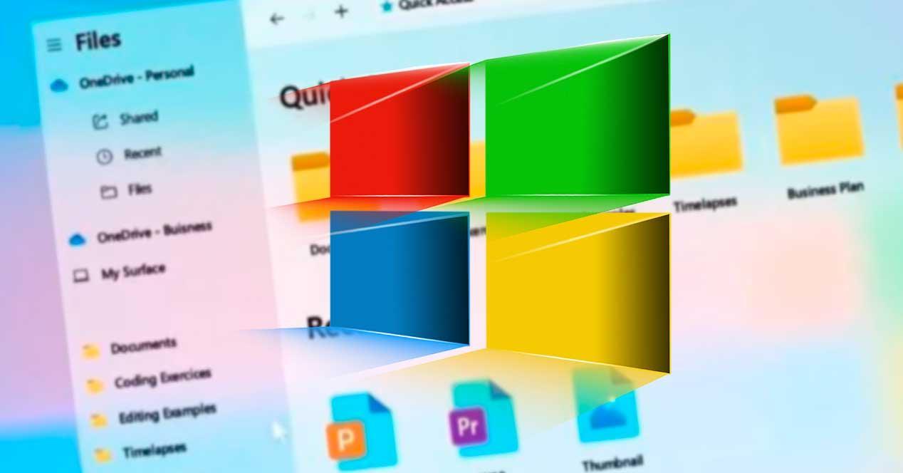 Windows 10 con efecto Fluent Design Sun Valley