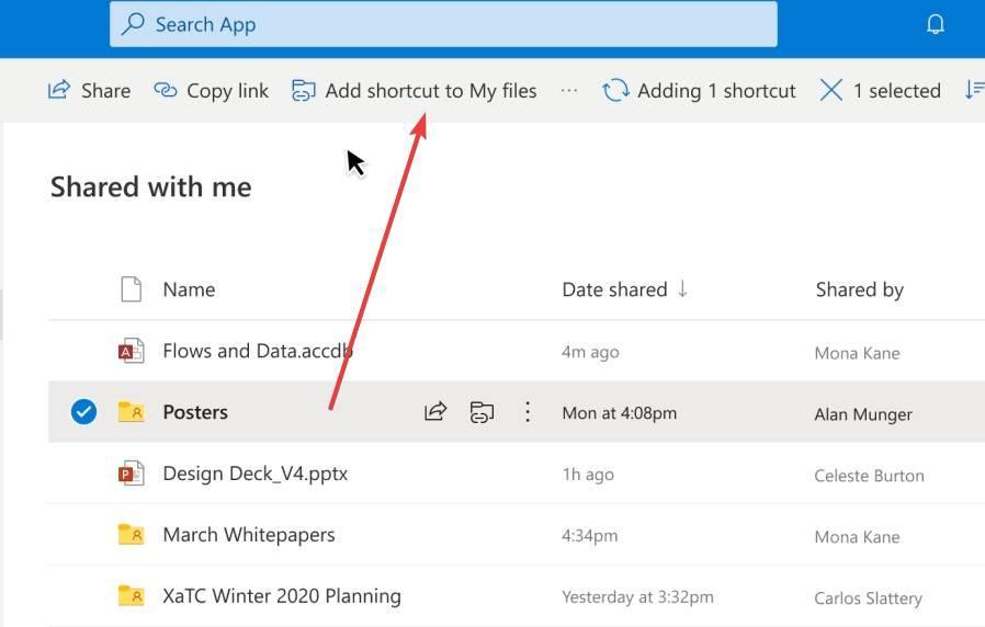 OneDrive añadir carpeta compartida a archivos