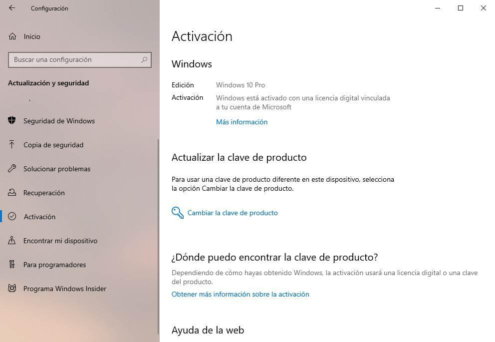 Activación clave Windows 10
