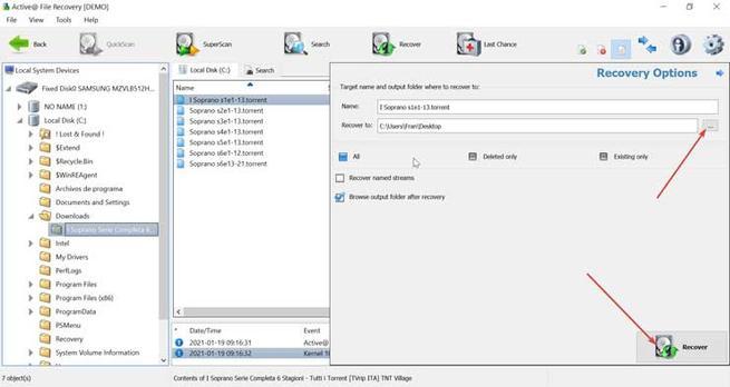 Active File Recovery seleccionar ruta y restaurar