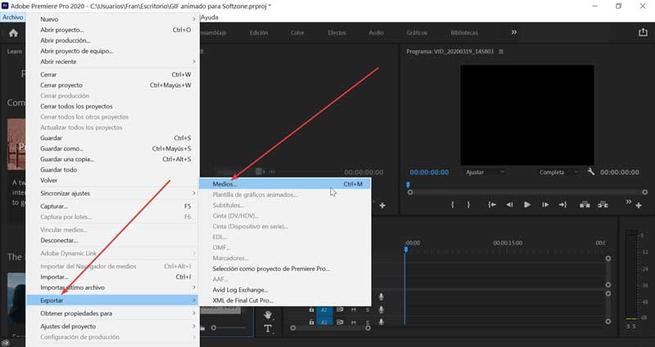 Adobe Premiere Exportar y Medios