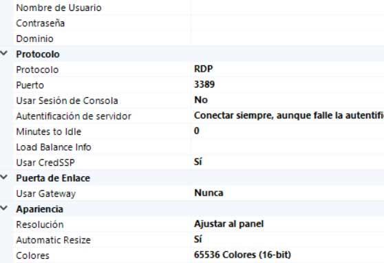 Datos conexión mRemoteNG