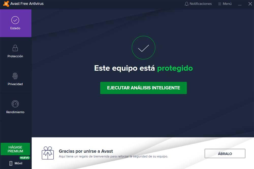 Interfaz principal Avast antivirus