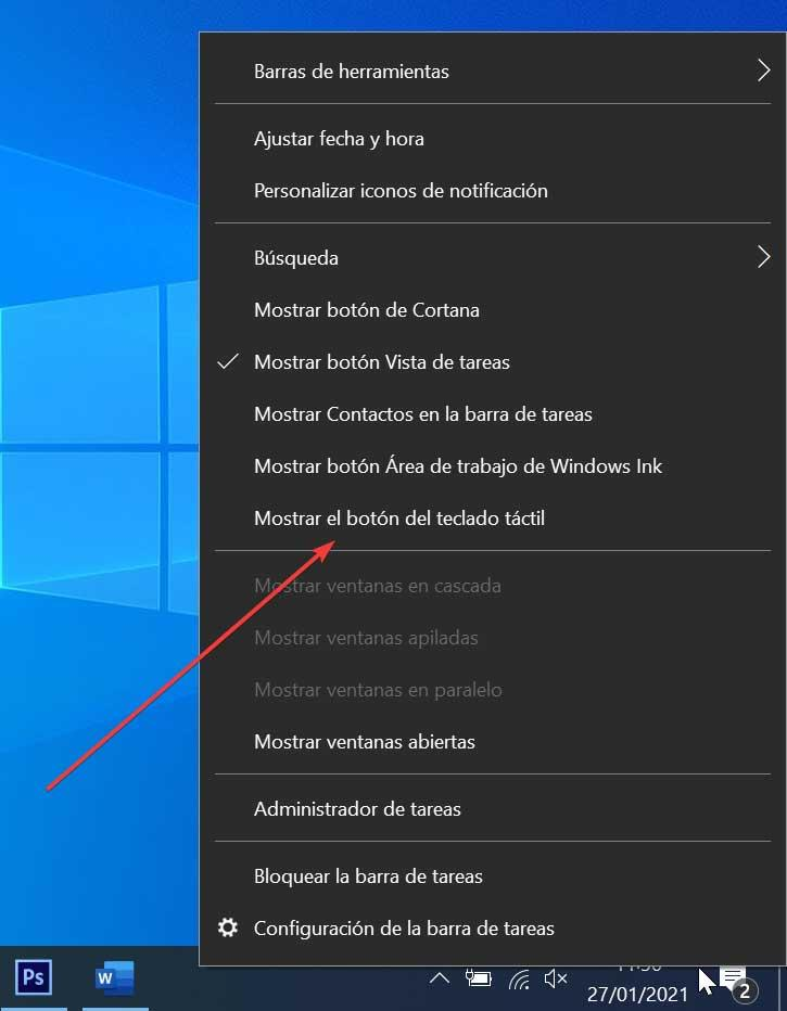 Mostrar el botón del teclado táctil en Windows 10
