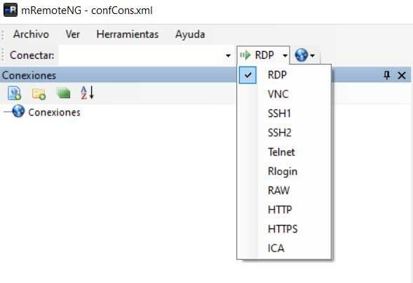 Tipos de conexiones mRemoteNG