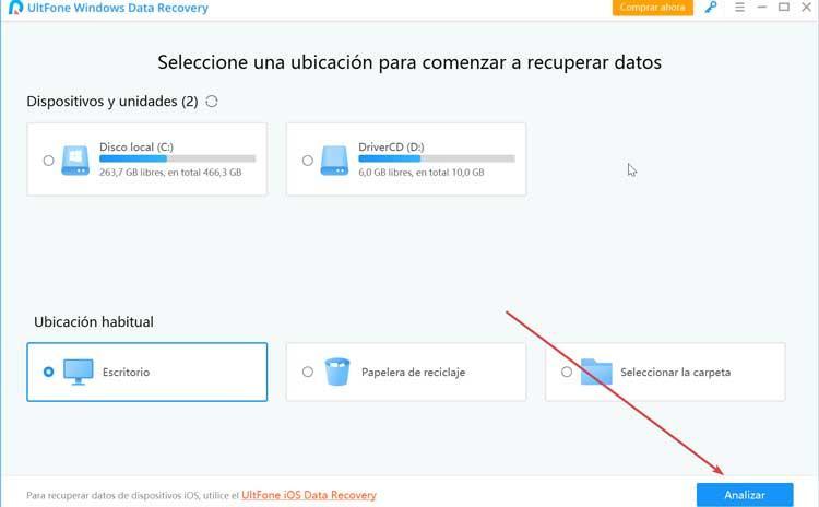 UltFone Data Recovery menú principal