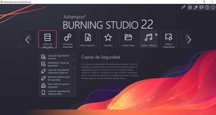 Ashampoo Burning Studio Copias de seguridad