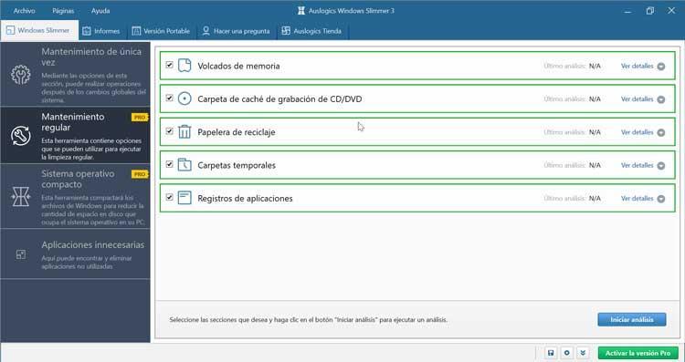 Auslogics Windows Slimmer Mantenimiento regular
